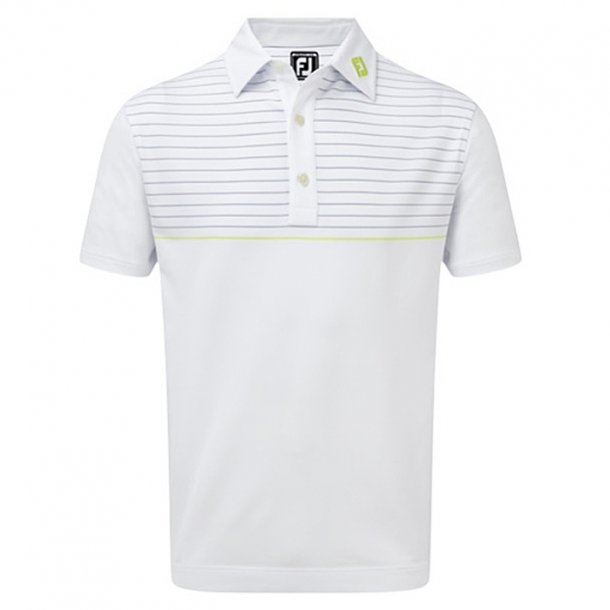 FootJoy Stretch Lisle Engineered Pinstripe Polo White/Blue Marlin/Citrus